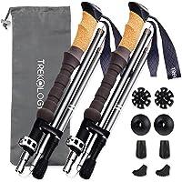 Trekology Trek-Z Cork Handle Trekking Poles Collapsible Nordic Hiking Pole Pair - 2pc Ultralight Folding Walking Sticks…