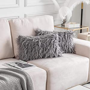 Home Brilliant Set of 2 Decorative New Luxury Series Merino Style Fur Oblong Throw Pillow Case Rectangle Cushion Cover 12x20 Inches, 30x50cm, Dark Grey