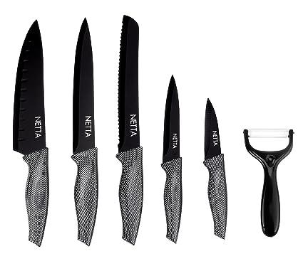 Compra Netta - Set de cuchillos revestidos en negro con ...