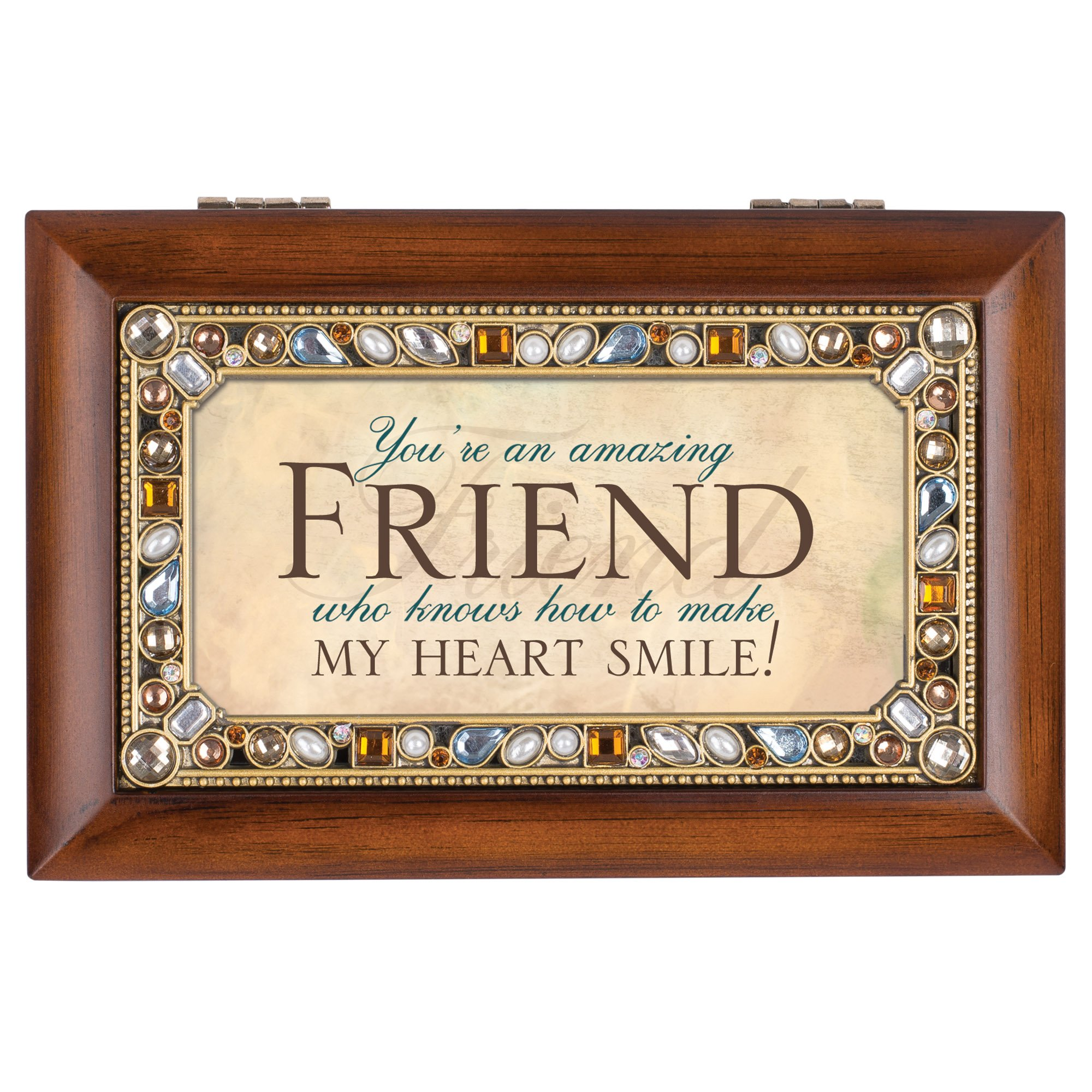 Cottage Garden Friend Jeweled Woodgrain Jewelry Music Box - Plays Tune Thats What Friends Are For by Cottage Garden (Image #2)