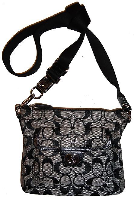ca80259c37 CLICK THUMBNAIL TO ZOOM Coach Signature Pocket Swingpack Crossbody Bag  Black White ...