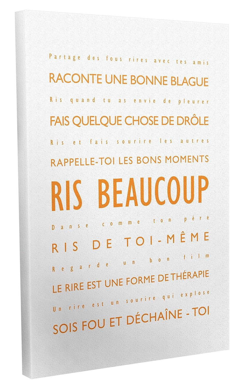 Feel Good Art Ris Beaucoup Toile sur Cadre Mural de Style Moderne//Typographique Bleu P/âle//Blanc 30 X 20 cm