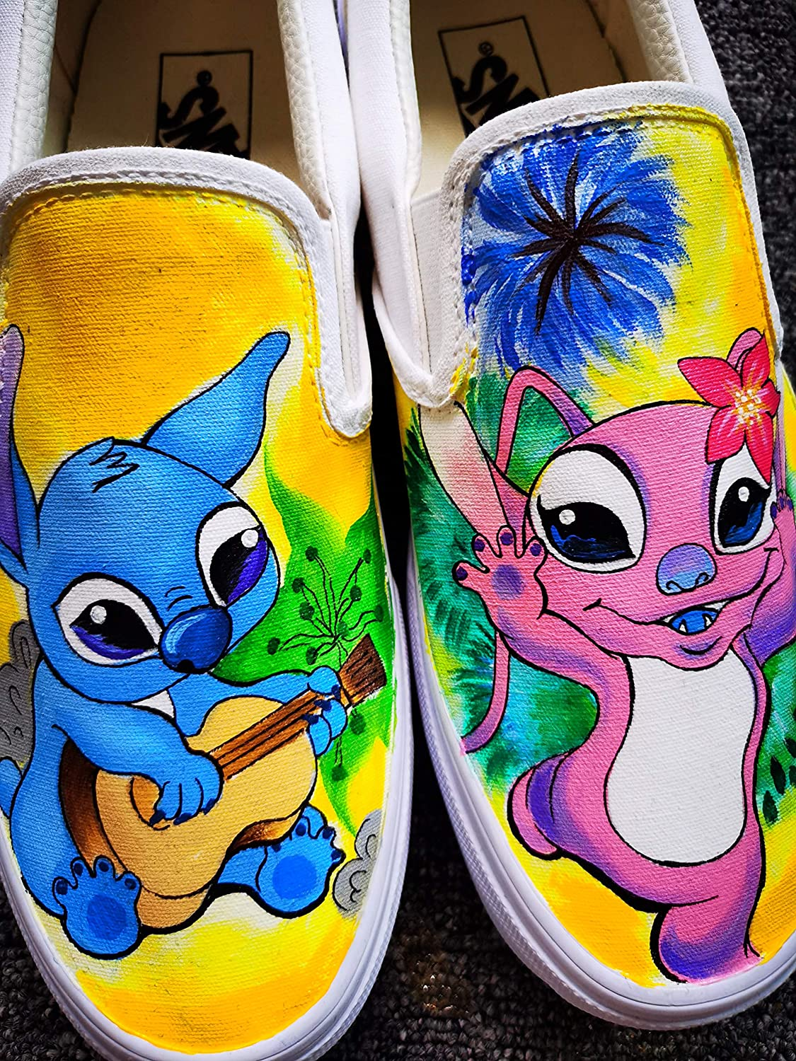 Disney Stitch Shoes Anime Hand Painted Shoes Women Mens Canvas Sneakers for Birthday Presents Free Shipping