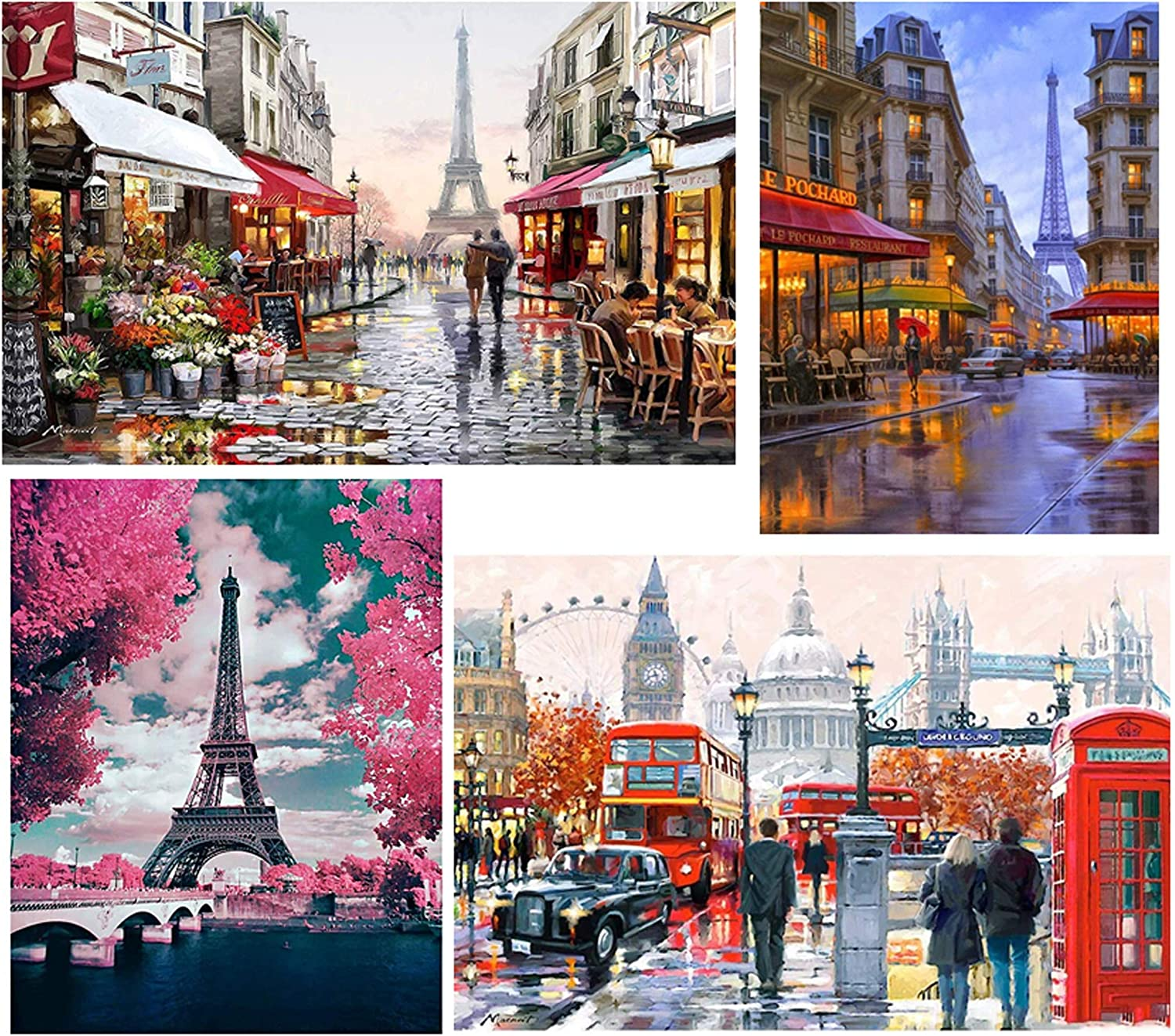 Pink Paris 5D Diamond Painting Kit for Adults and Beginners Paint with Round Diamond Beads Eiffel Tower Full Drill Canvas Supply 12/×16 DIY Diamond Art Picture Handicraft for Wall Decoration