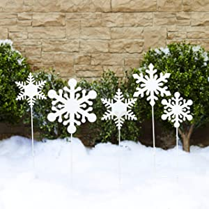 The Lakeside Collection Snowflake Garden Stakes - Christmas Winter Yard Decorations - Set of 5