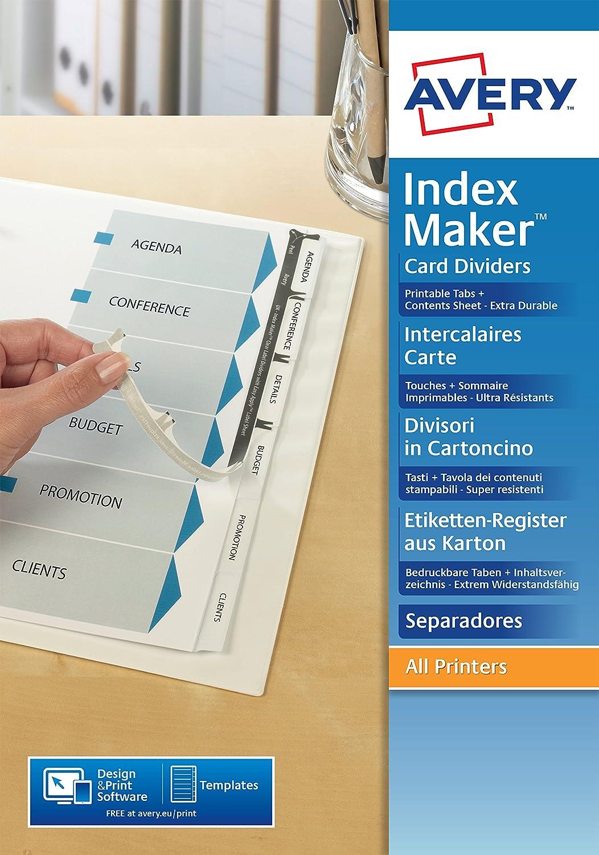 Avery 1998061divisori in cartoncino Index Maker kit perforata carta da personalizzare (contenuto pagina + personalizzabili linguette) bianco A4per stampa laser e inkjet Avery Tico Srl