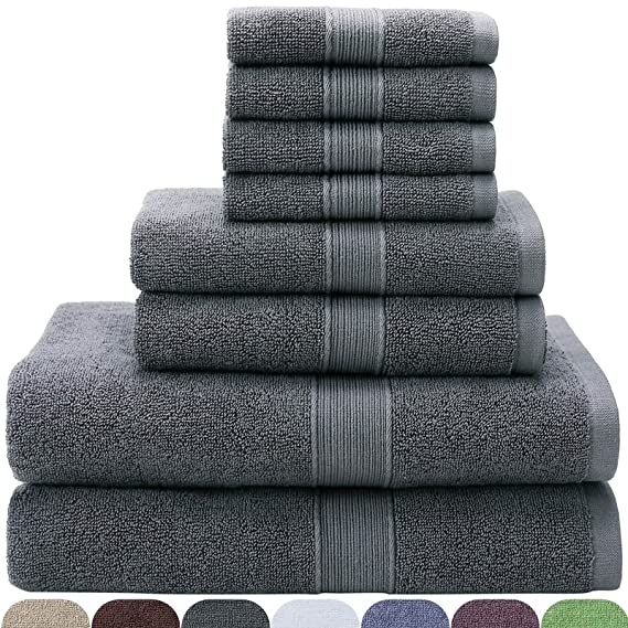 VEEYOO 100% Cotton 8 Piece Towel Set Gray: 2 Bath Towels, 2 Hand Towels, 4 Washcloths - Hotel & Spa Quality, Extra Soft and Highly Absorbent for Bathroom