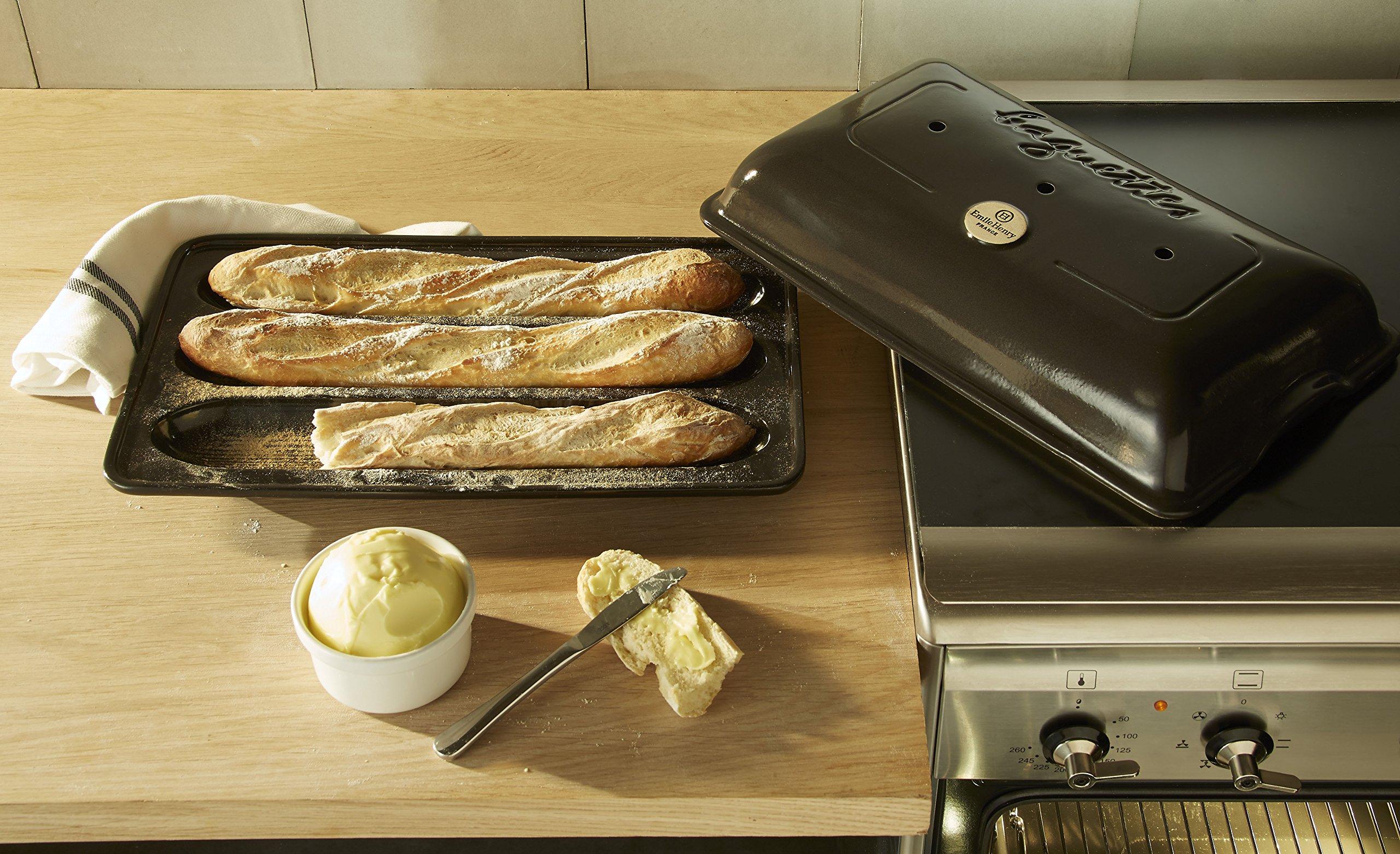 3-Piece Set: Emile Henry Ceramic Baguette Baker Charcoal, Mure & Peyrot Longuet Bread Scoring Lame, Matfer Baker's Couche Proofing Cloth Linen, 23.5 x 35.5 - Bundle by Mixed (Image #6)