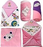 My Newborn Baby Fleece Blanket Gift Set, Pink (Pack of 5)