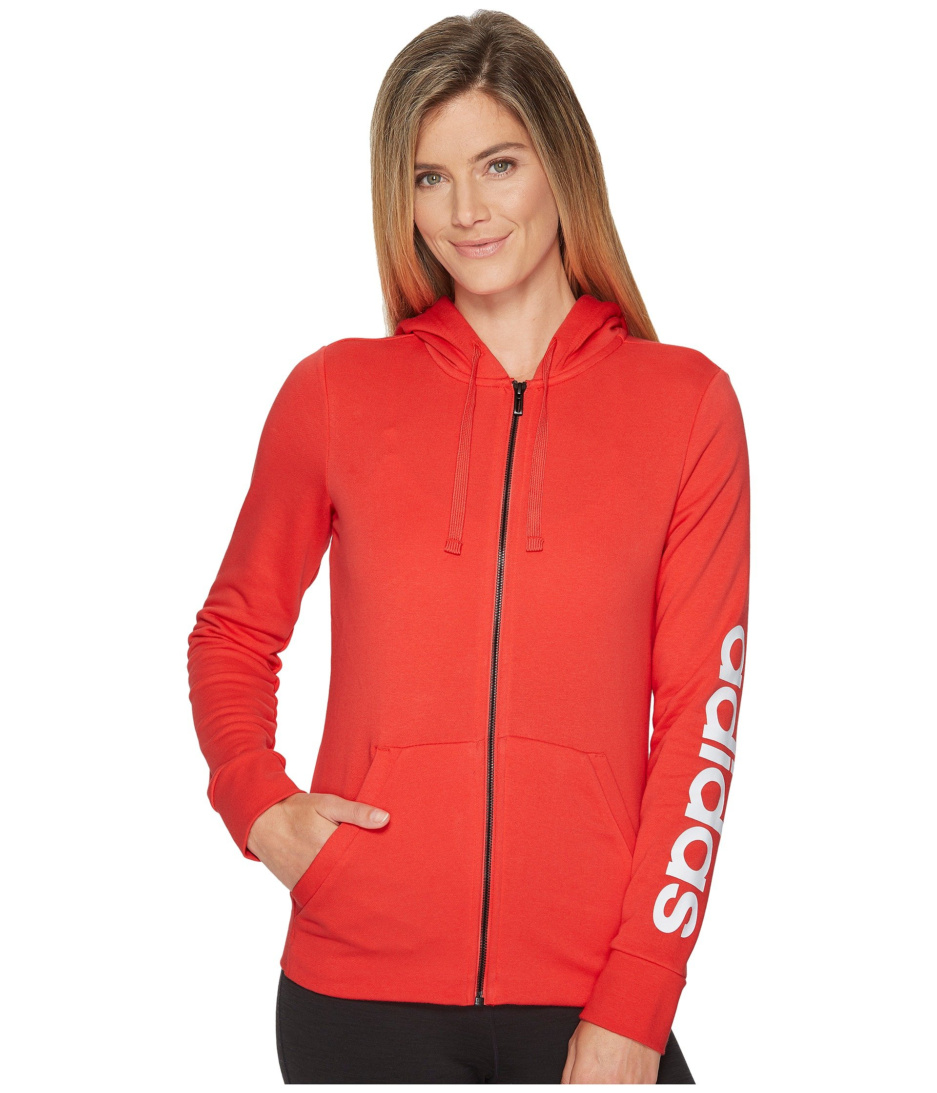adidas Women's Essentials Linear Full Zip Fleece Hoodie, Real Coral/White, X-Small by adidas