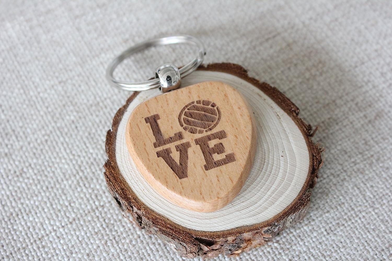 Amor de madera aniversario regalo parejas corazón llavero ...