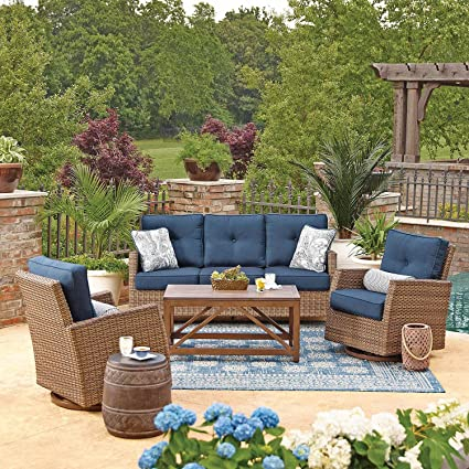 All Weather Wicker Outdoor 4pc Patio Seating Set W/ SUNBRELLA Fabrics