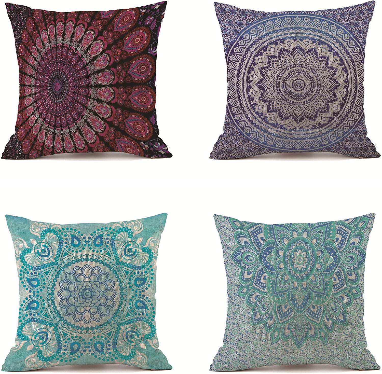 VIGVOG 4 Pack Boho Retro Mandala Compass Print Throw Pillow Cover Cotton Linen Cushion Case Decorative for Sofa Bed Chair 18