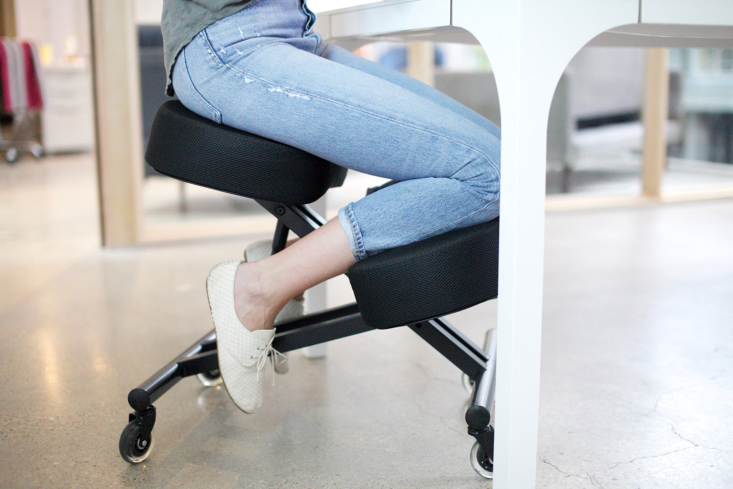 Sleekform Kneeling Chair with Adjustable Seat Angle & Knee Pad Height | Customizable Kneel Stool for Posture Correction & Back Pain | Great Home Office or Desk Chair | Mesh, Black