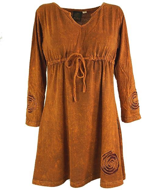 GURU-SHOP, Hippie Mini Vestido Boho Chic Espiral, Túnica, Naranja, Algodón