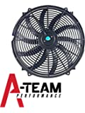"A-Team Performance 130031 16"" Heavy Duty 12V Radiator Electric Wide Curved S Blade FAN 3000 CFM Reversible Push or Pull with Mounting Kit"