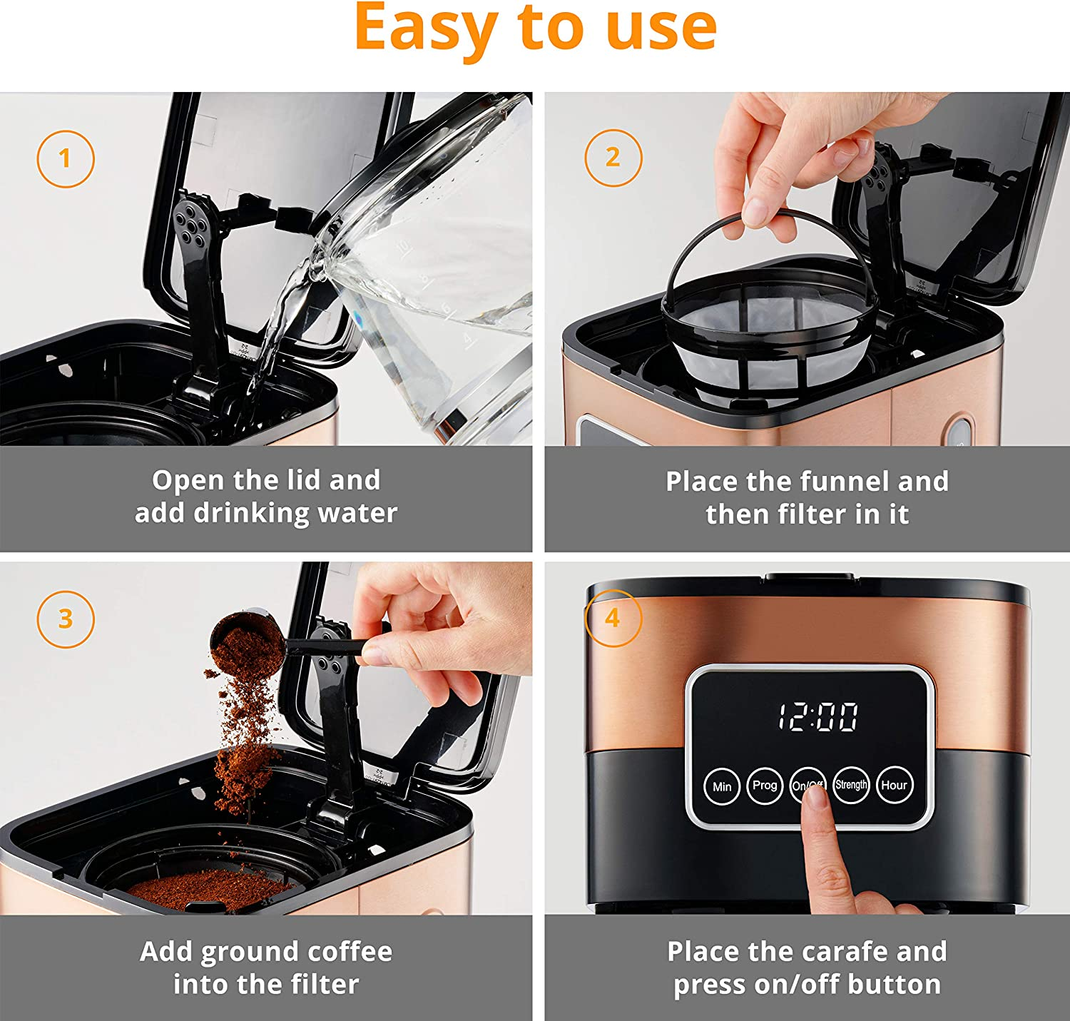 Gastrorag 10-Cup Drip Coffee Maker - Programmable Coffee Machine with Glass Carafe, Keep Warm, Permanent Filter, Copper