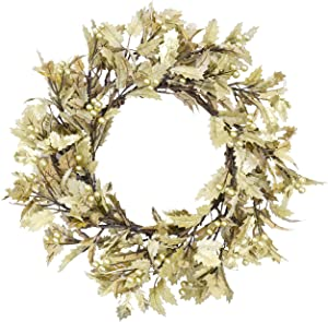 YNYLCHMX Artificial Christmas Wreath for Front Door, Door Wreath Flushed with Gold Holly Leaves with Berry, Home Decor for Indoor, Windows, Wall, Fireplace, Holiday, Party Decoration, 20 Inch