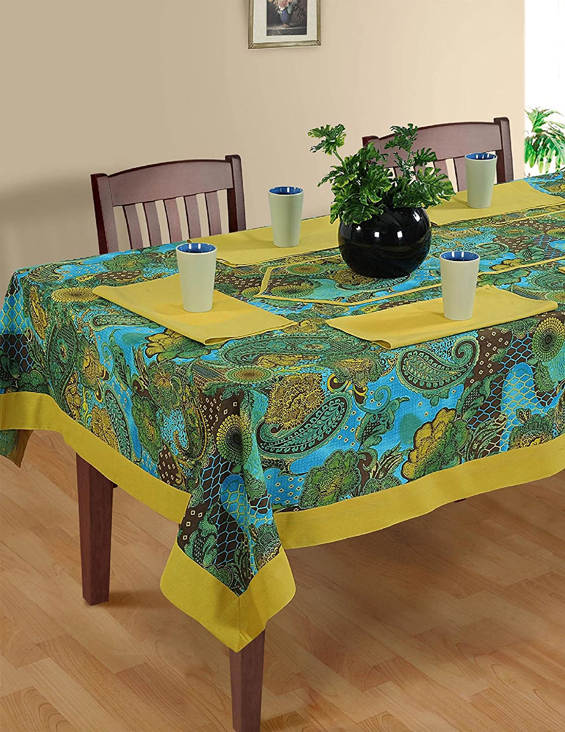 Amazon.com: ShalinIndia Colorful Multicolor Cotton Spring Floral Tablecloths  Tables 54 X 54 Inches, Gold Metallic Border: Kitchen U0026 Dining