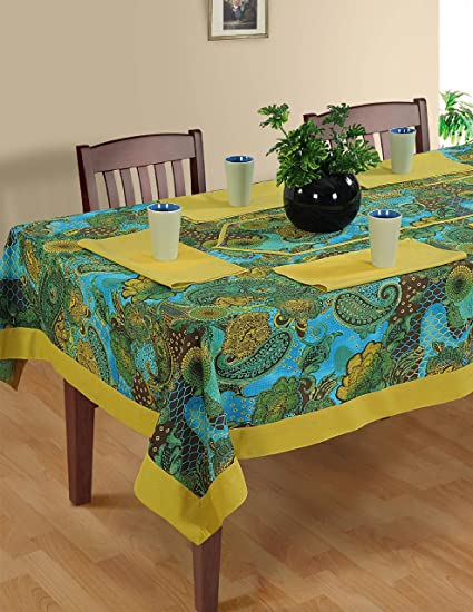 Attirant ShalinIndia Colorful Multicolor Cotton Spring Floral Tablecloths 60 X 60  Inches   Gold Metallic Border