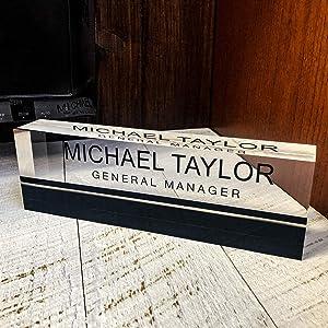 "Artblox Office Desk Name Plate Personalized | Custom Name Plates for Desks on Acrylic Glass Decor | Office Desk Decor Nameplate | Desk Accessories | Black Stripe - (8"" x 2.5"")"