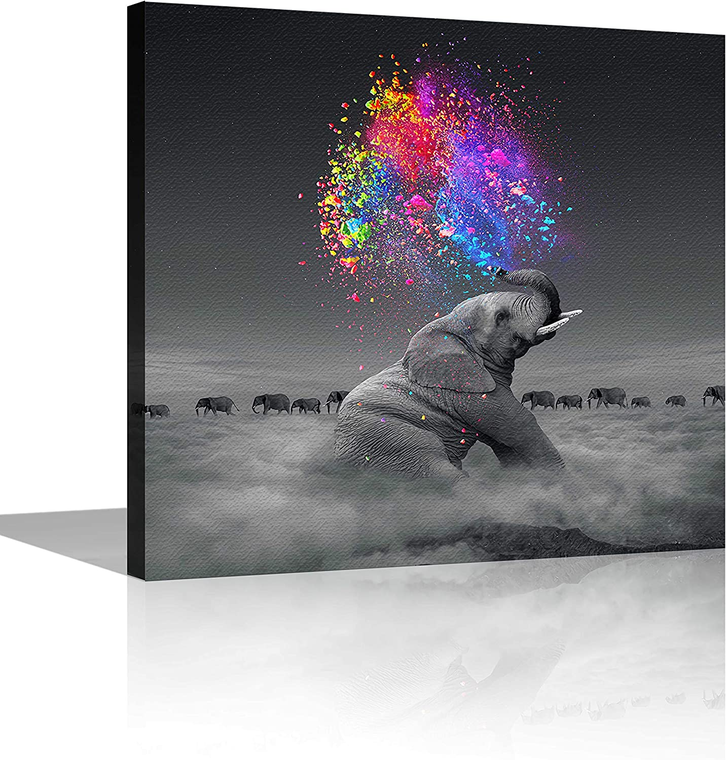 Square Canvas Wall Art The Elephant Squirting Colorful Water Modern Wall Art Decor for Home,Office,Hotel