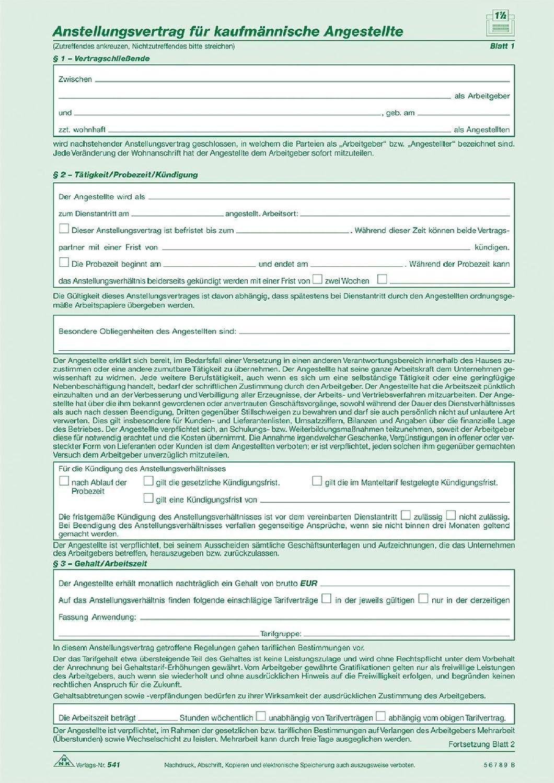 Rnk 54110 Anstellungsvertrag Selbstdurchschreibend Für
