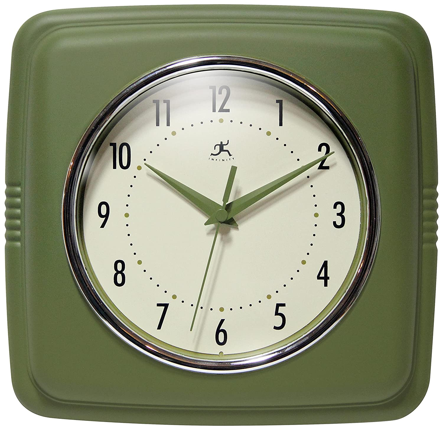 Infinity Instruments Square Retro 9.25 Wall Clock, Sage Green 13228SG-4103