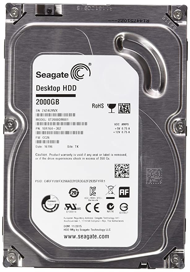 Seagate Barracuda ST2000DM001 2TB Internal Hard Drive (Silver) SATA Hard Drives at amazon