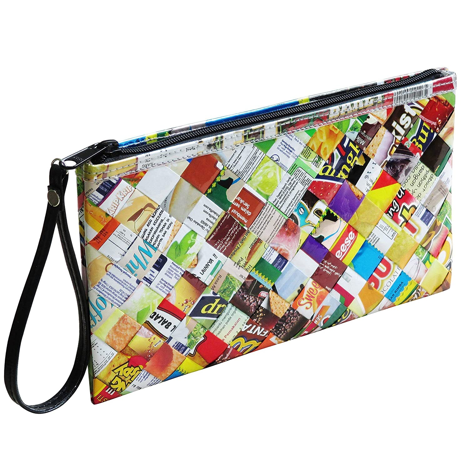 Large wristlet made from candy wrappers PRIME Gift for lover of candies sweet girlfriend wife daughter upcycled recycled gum wrapper hippie clutch bag purse woven type style fun cute cool present