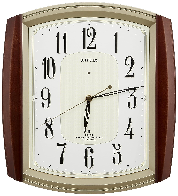 リズム時計 掛け時計 電波 アナログ ネムリーナM469R 毎正時 時報 付 木 茶 (半艶仕上げ) RHYTHM 4MN469RH06 B00NK7K8UC