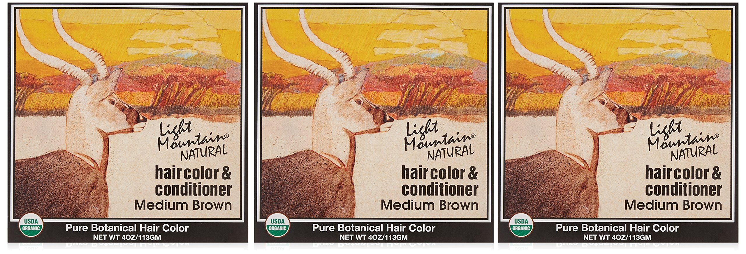 Light Mountain Natural Hair Color & Conditioner, Medium Brown, 4 oz (113 g) (Pack of 3)