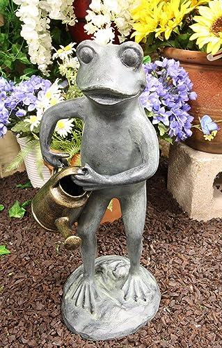 Ebros Gift 19″ Tall Aluminum Metal Green Thumb Whimsical Gardening Frog