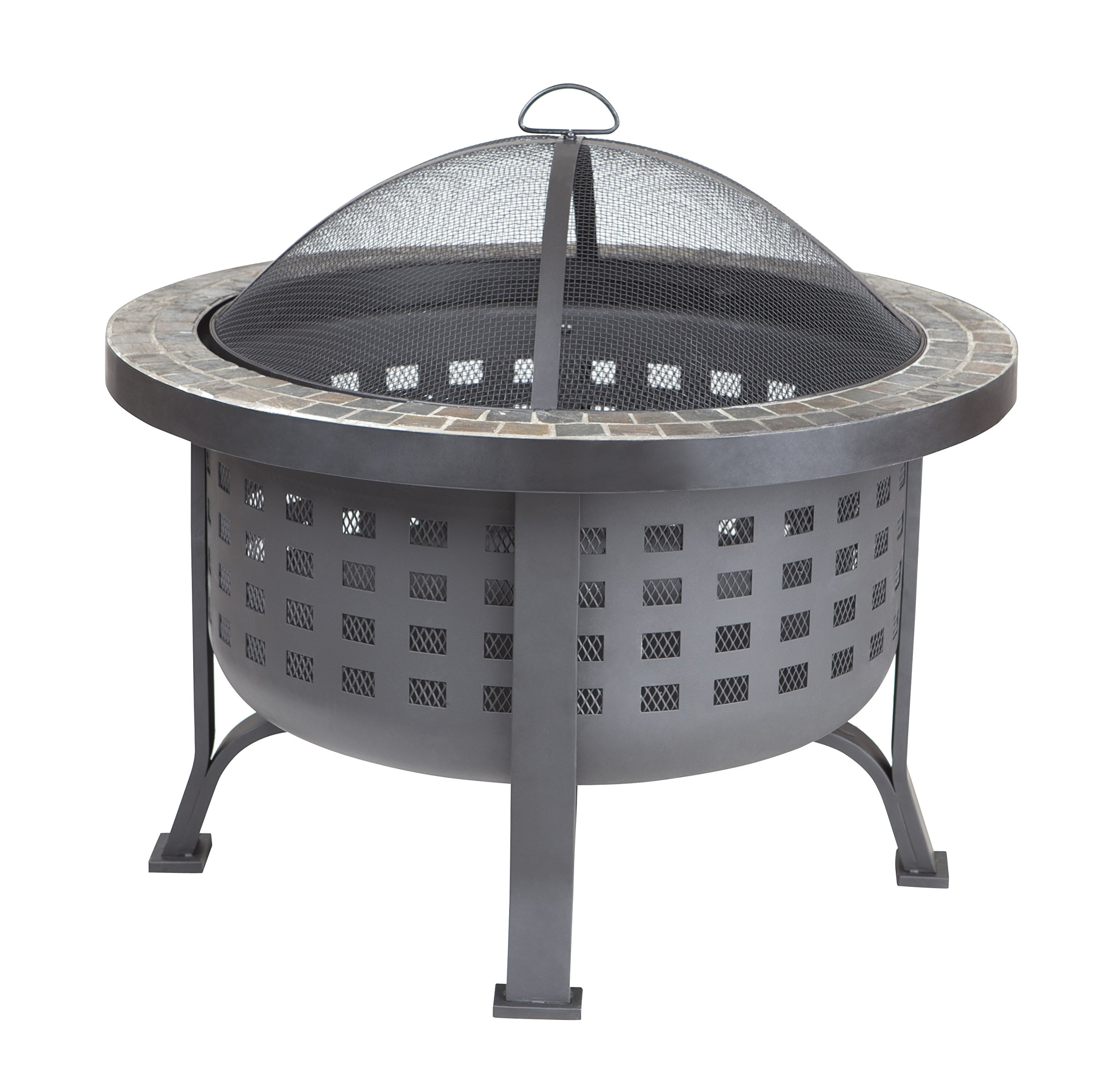 Fire Sense Alpina Round Slate Top Fire Pit - Natural slate top Deep fire bowl One-piece mesh spark screen with high temperature paint - patio, fire-pits-outdoor-fireplaces, outdoor-decor - 91TtbHP2l3L -