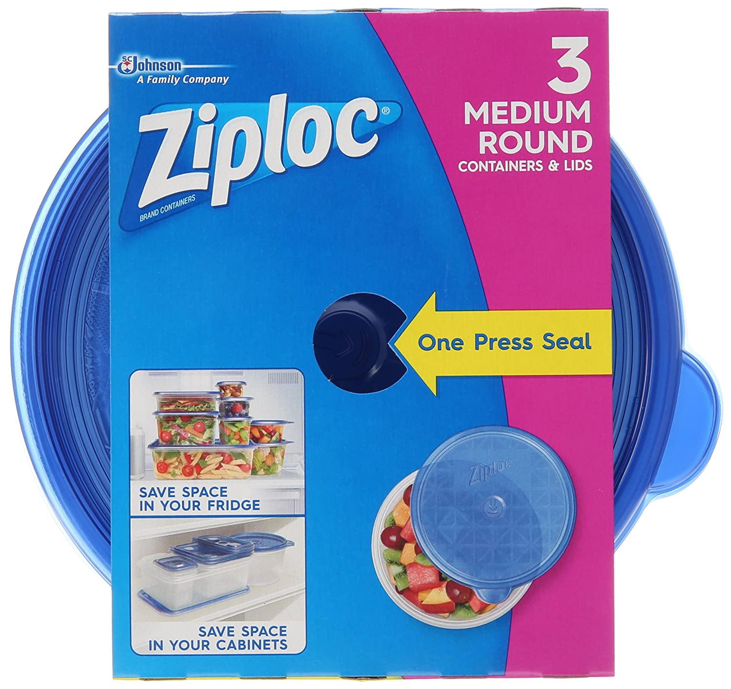 Ziploc Food Storage Containers, Perfect for on-the-go snacking, BPA Free, Medium Round, 3 Count