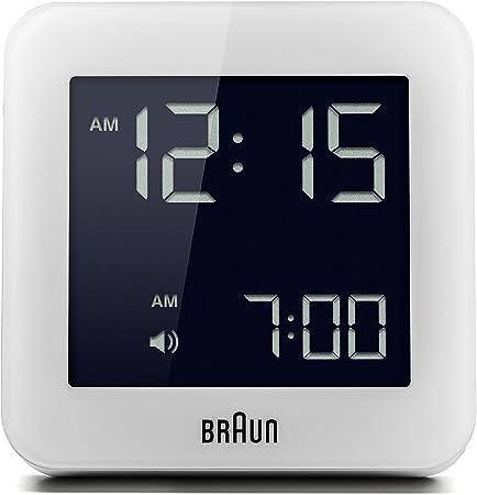 Braun BNC-009-WHReloj despertador digital, pantalla LCD retroiluminada de fácil lectura, función snooze, luz de fondo. pantalla de 12 / 24 horas, color blanco