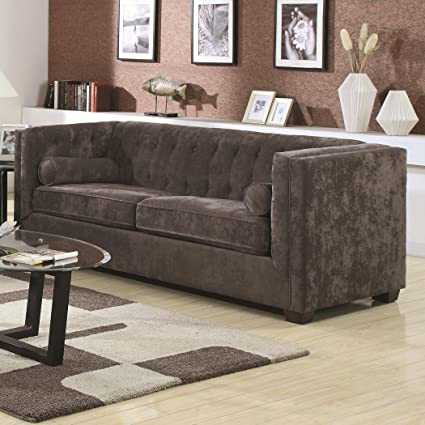 Coaster Alexis Transitional Chesterfield Sofa With Track Arms, Charcoal