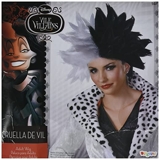 Disguise Womens Disney 101 Dalmatians Cruella De Vil Deluxe Adult Costume Wig, Black/White