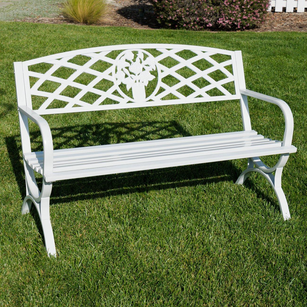 Belleze 50'' inch Outdoor Park Bench Garden Backyard Furniture Chair Porch Seat Steel Frame, White by Belleze