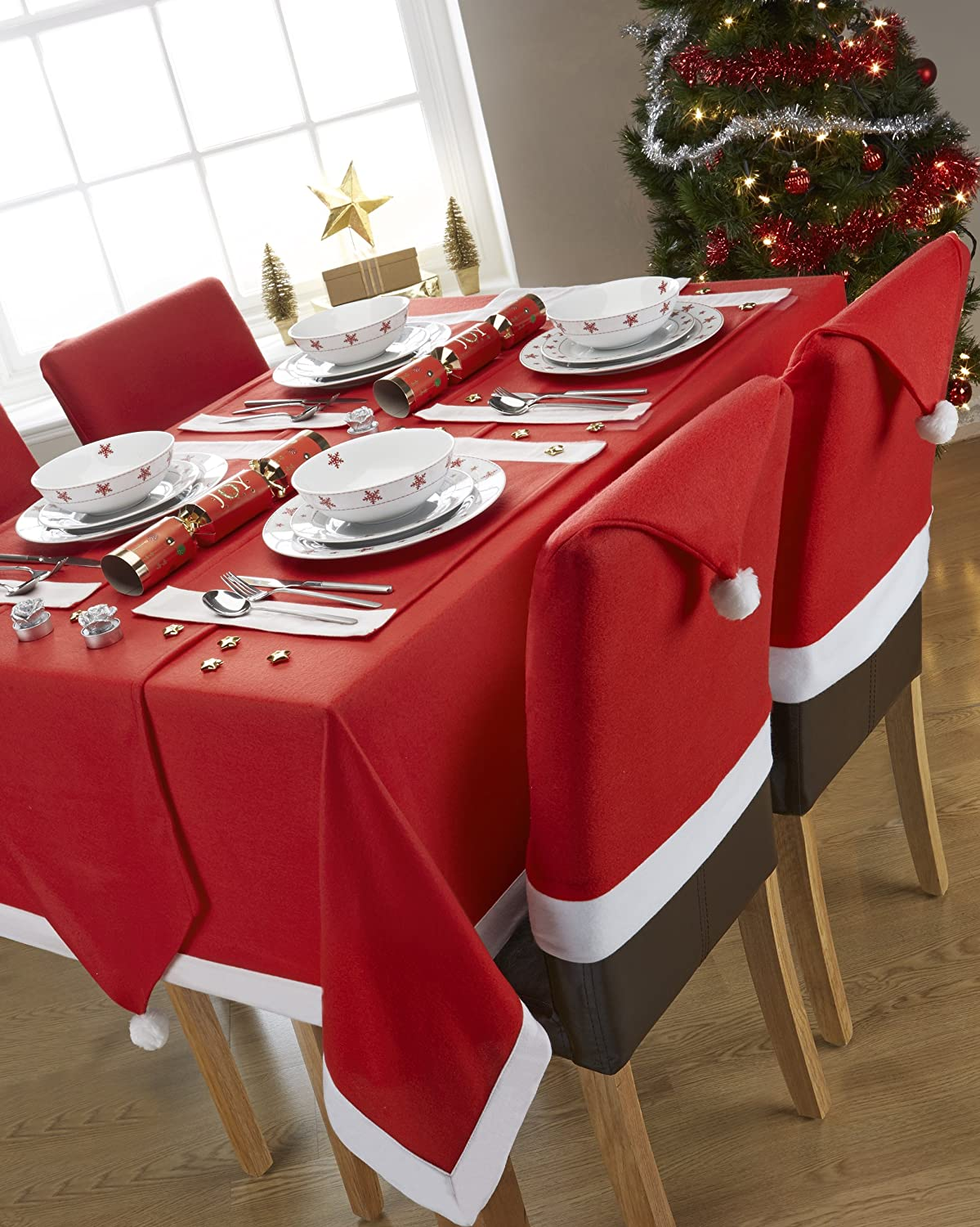 Santas Table Red And White Rectangular Tablecloth Ideal For 4 6 Place Settings 52x70inch 132x178centimeter Approx Amazoncouk Kitchen Home