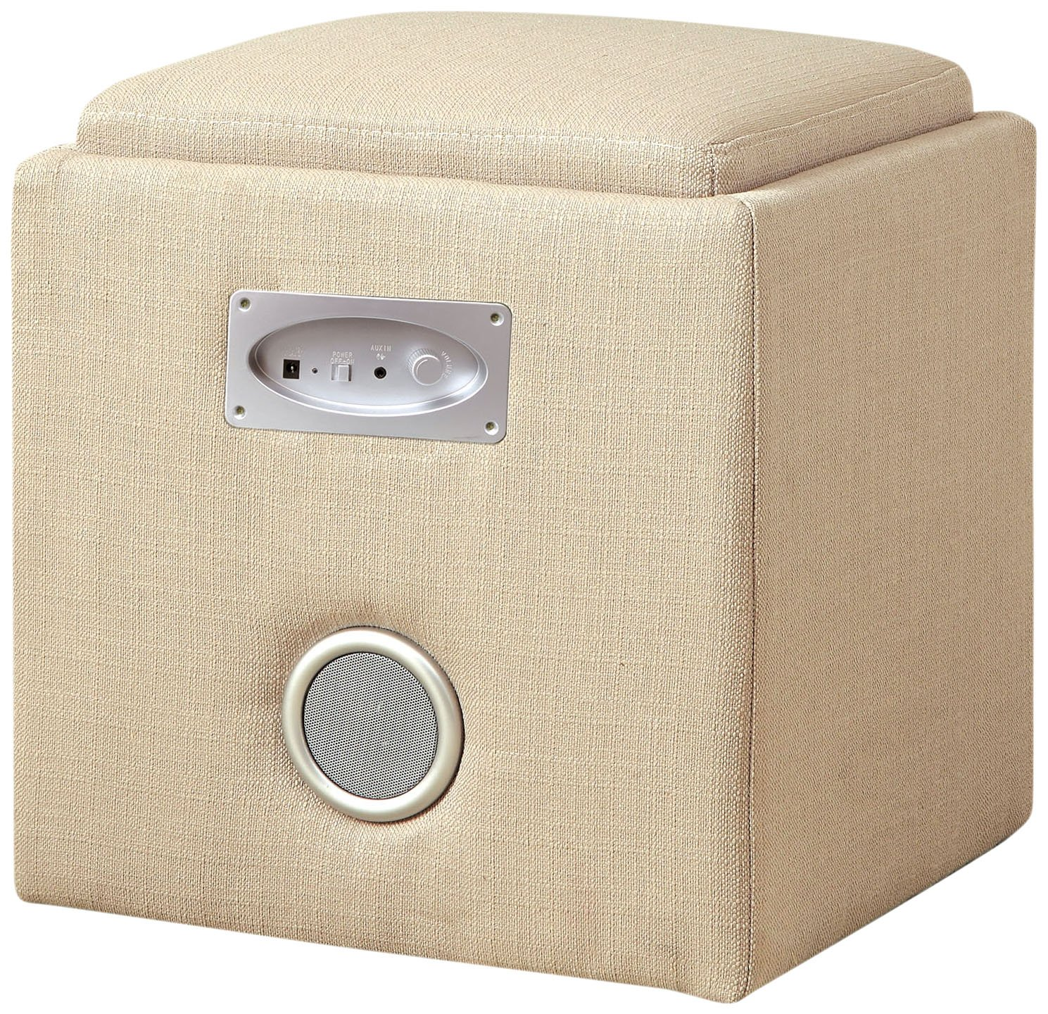 Furniture of America Uptempo Padded Flax Storage Ottoman with Bluetooth Speakers, Ivory by Furniture of America