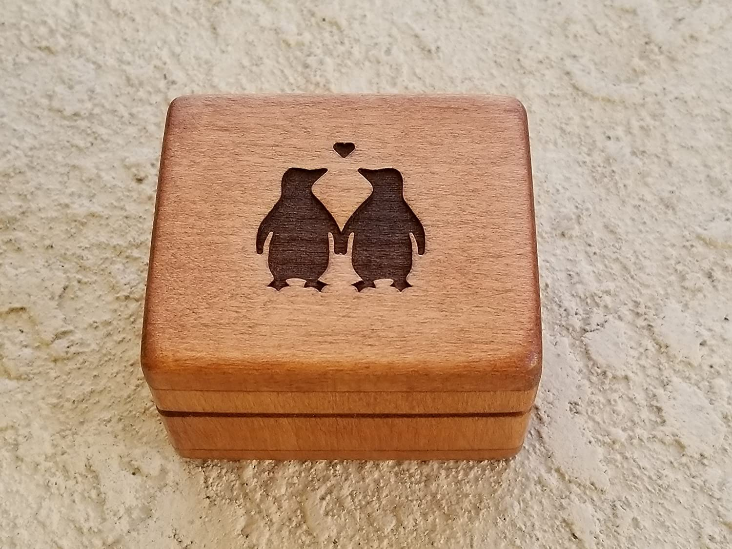 Custom engraved wooden ring box, love penguins, ring box, beach wedding, engagement ring box handmade by Simplycoolgifts, Valentine's day gift Valentine' s day gift