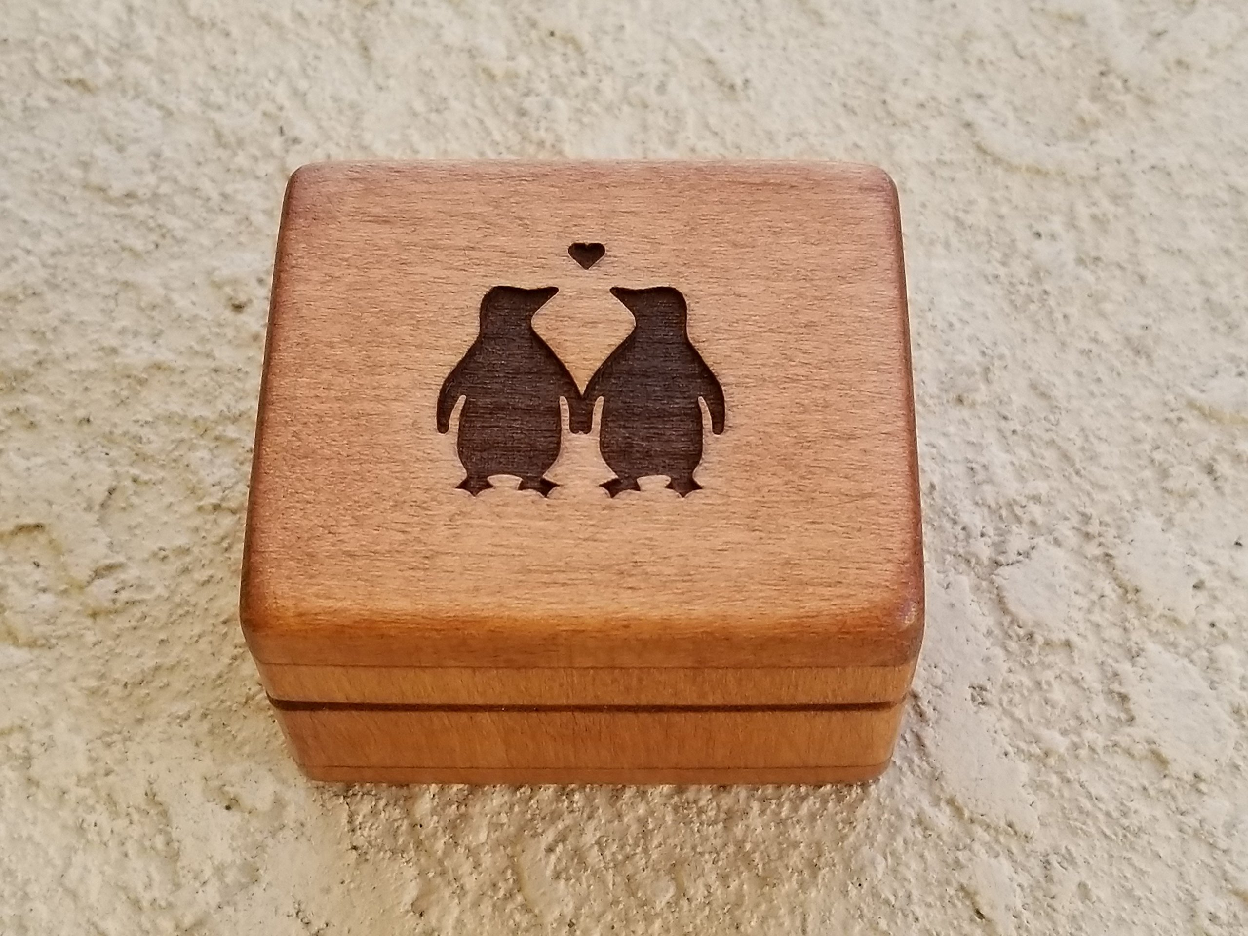 Custom engraved wooden ring box, love penguins, ring box, beach wedding, engagement ring box handmade by Simplycoolgifts, Valentine's day gift