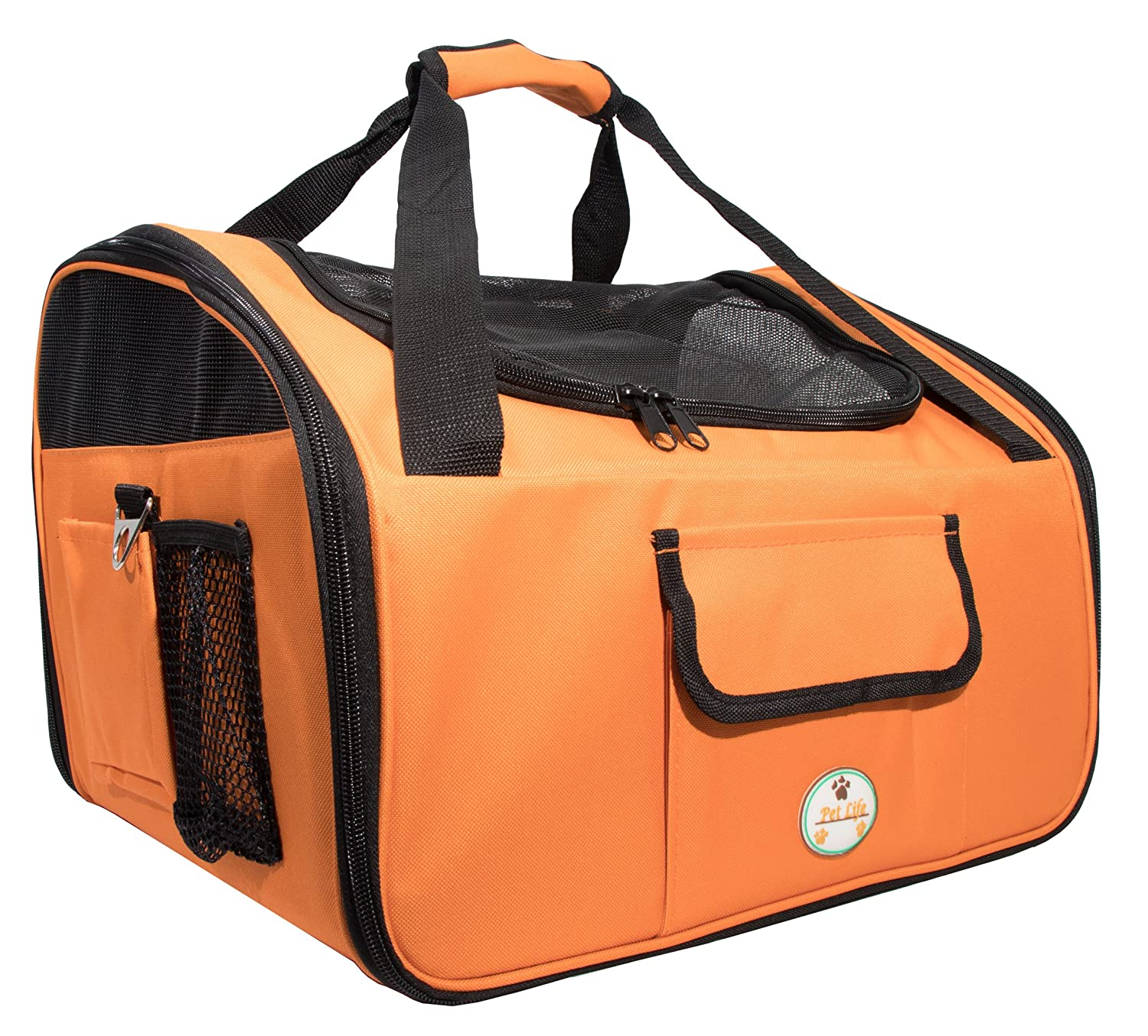 orange One Size orange One Size PET LIFE 'Ultra-Lock' Collapsible Safety Travel Wire Folding Pet Dog Carseat Car Seat Carrier Crate, One Size, orange