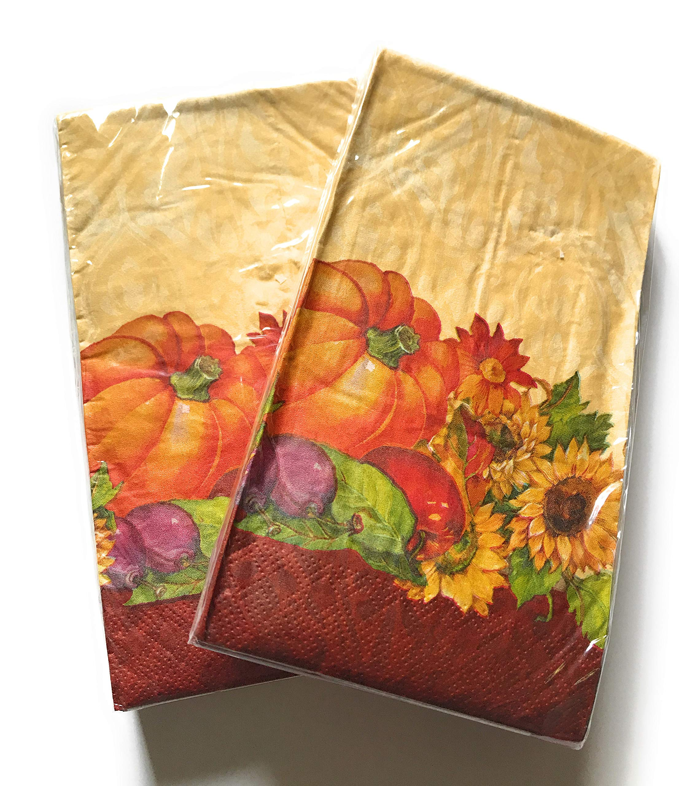 Fall Theme Paper Napkins Sets, Regal Turkey or Pumpkin Tapestry Themes - Durable 3 PLY with Beautiful Colors - 2 Sets of 16 Napkins (32 Total Napkins) - Great Value! (Turkeys)