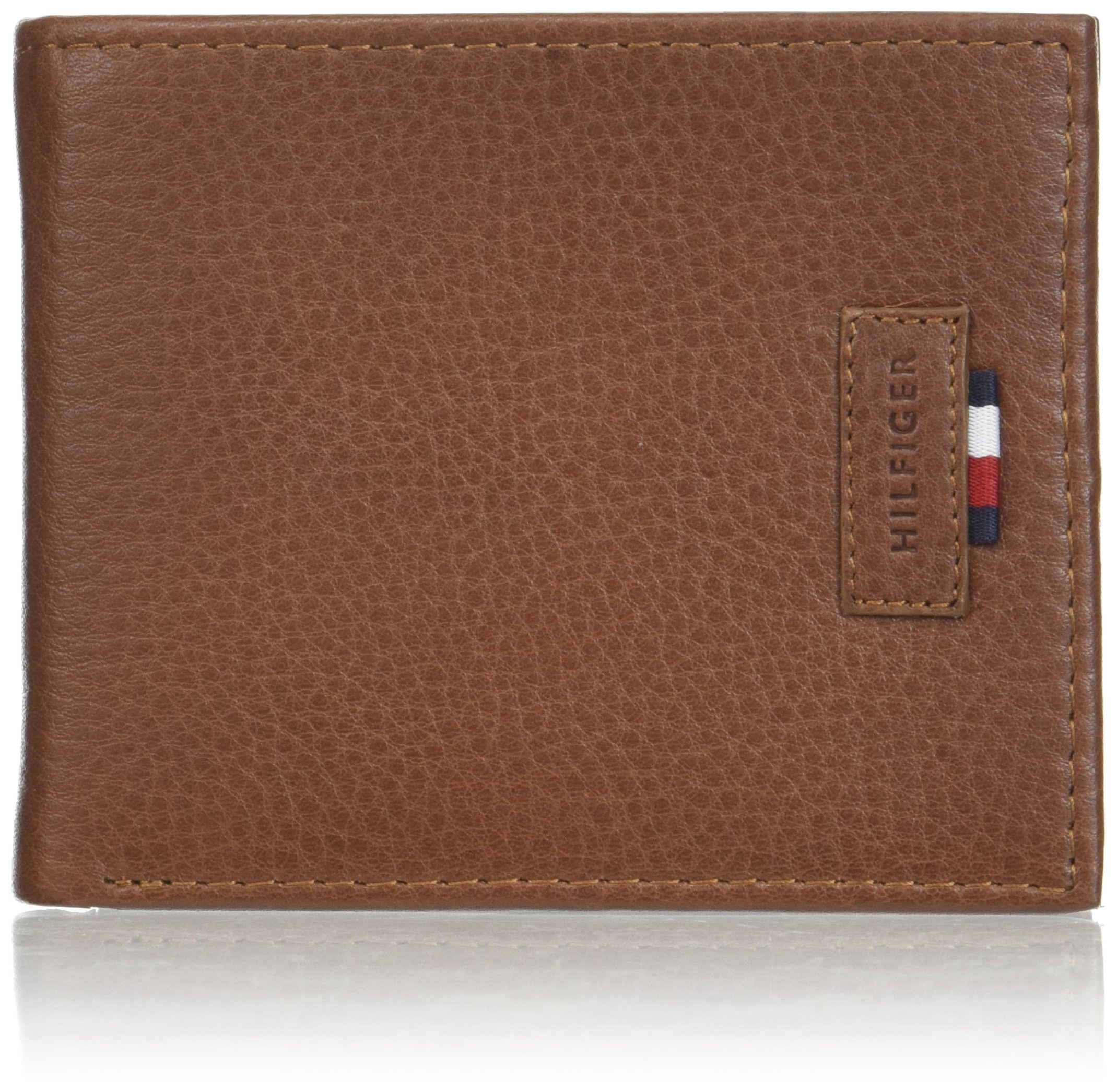 Tommy Hilfiger Men's Rfid Blocking 100% Leather Passcase Wallet, Tan, One Size