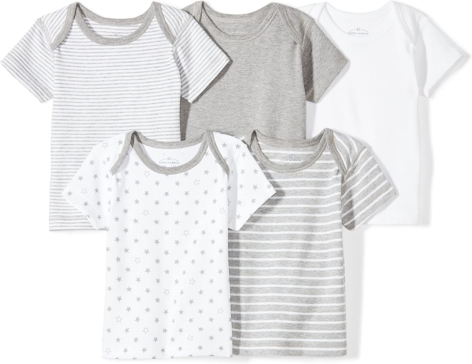 Moon and Back Baby Set of 5 Organic Crewneck Short-Sleeve Shirts