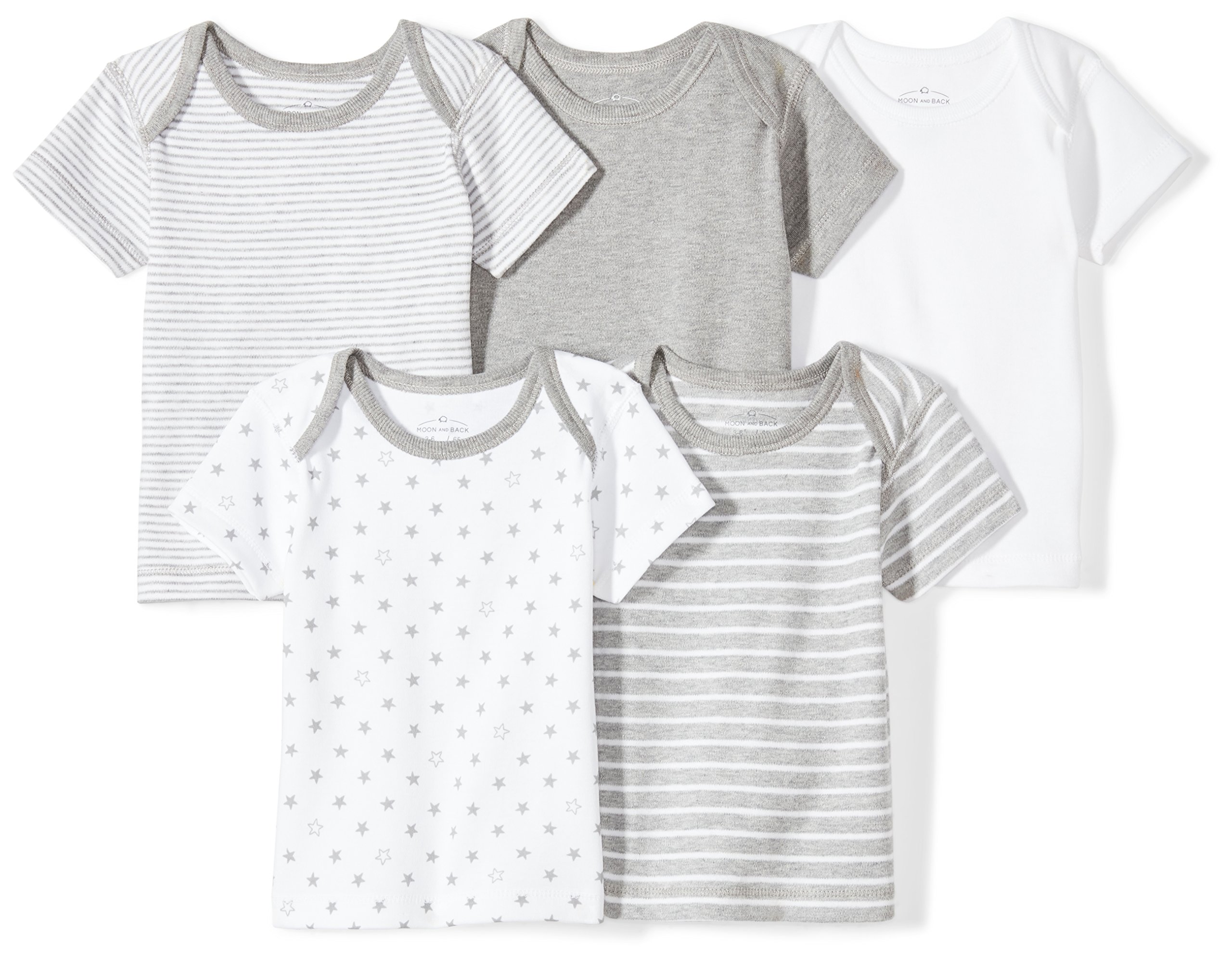 Moon and Back Baby Set of 5 Organic Lap-Neck Crew Short-Sleeve Tee Shirts, Grey Heather, 24 Months by Moon and Back