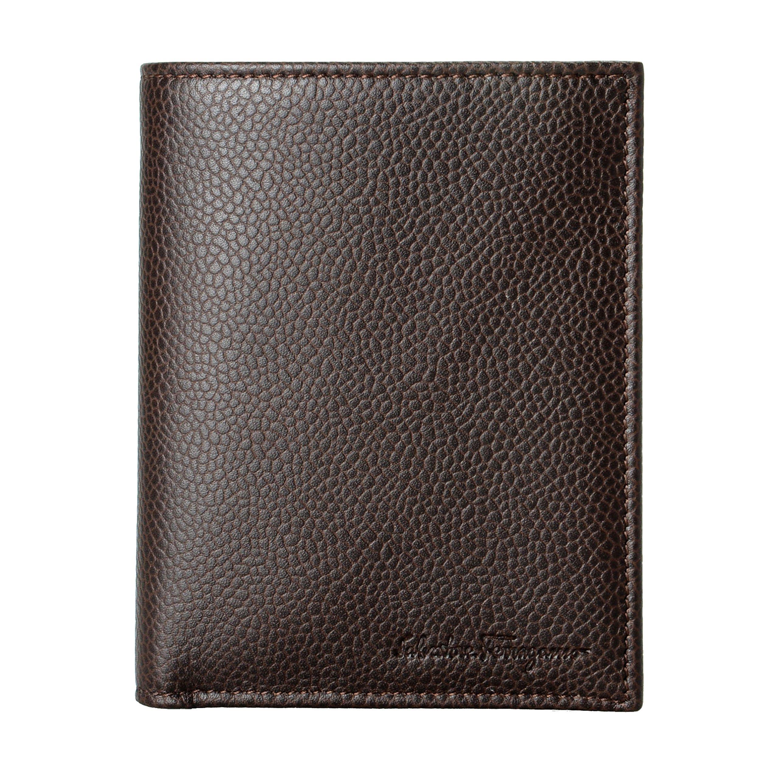 Salvatore Ferragamo Men's Deep Brown 100% Pebbled Leather Bifold Wallet