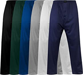 Andrew Scott Men's Pack of 6 Lightweight 100% Cotton Yoga Lounge & Sleep Pant